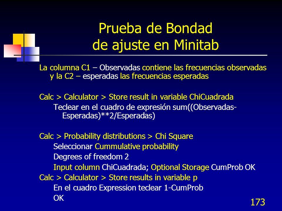 173 Prueba de Bondad de ajuste en Minitab La columna C1 – Observadas contiene las frecuencias observadas y la C2 – esperadas las frecuencias esperadas