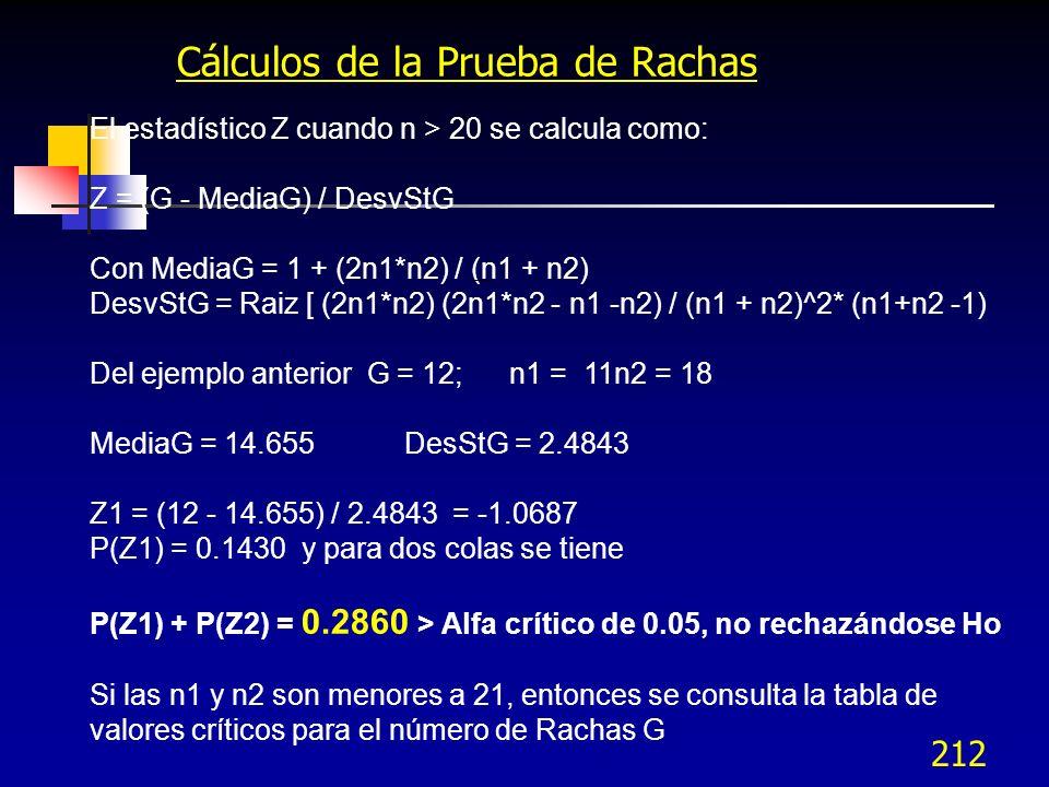 212 Cálculos de la Prueba de Rachas El estadístico Z cuando n > 20 se calcula como: Z = (G - MediaG) / DesvStG Con MediaG = 1 + (2n1*n2) / (n1 + n2) D
