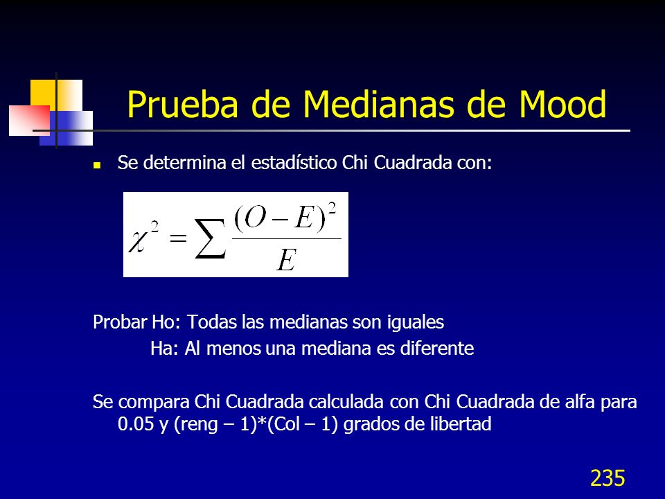 235 Prueba de Medianas de Mood Se determina el estadístico Chi Cuadrada con: Probar Ho: Todas las medianas son iguales Ha: Al menos una mediana es dif