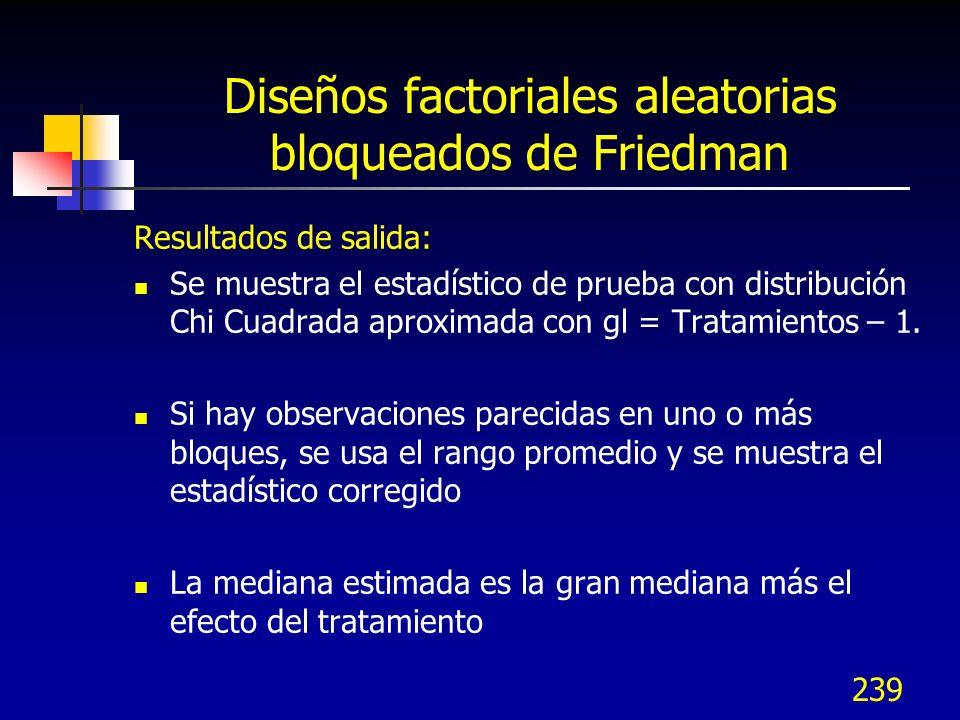 239 Diseños factoriales aleatorias bloqueados de Friedman Resultados de salida: Se muestra el estadístico de prueba con distribución Chi Cuadrada apro
