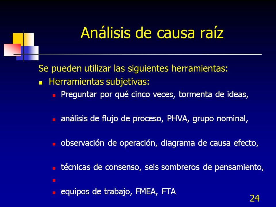 24 Análisis de causa raíz Se pueden utilizar las siguientes herramientas: Herramientas subjetivas: Preguntar por qué cinco veces, tormenta de ideas, a