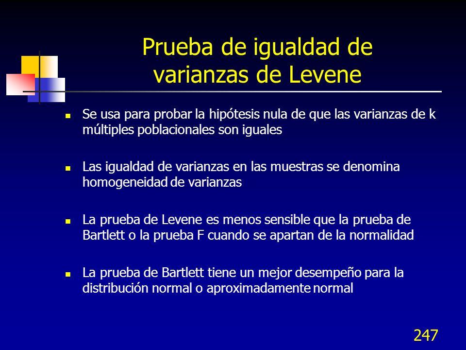 247 Prueba de igualdad de varianzas de Levene Se usa para probar la hipótesis nula de que las varianzas de k múltiples poblacionales son iguales Las i