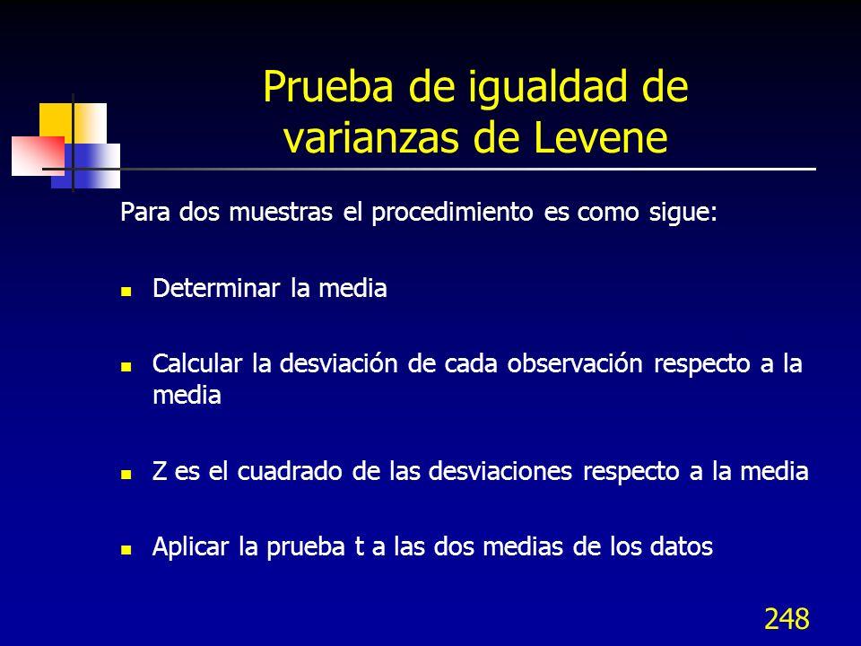 248 Prueba de igualdad de varianzas de Levene Para dos muestras el procedimiento es como sigue: Determinar la media Calcular la desviación de cada obs