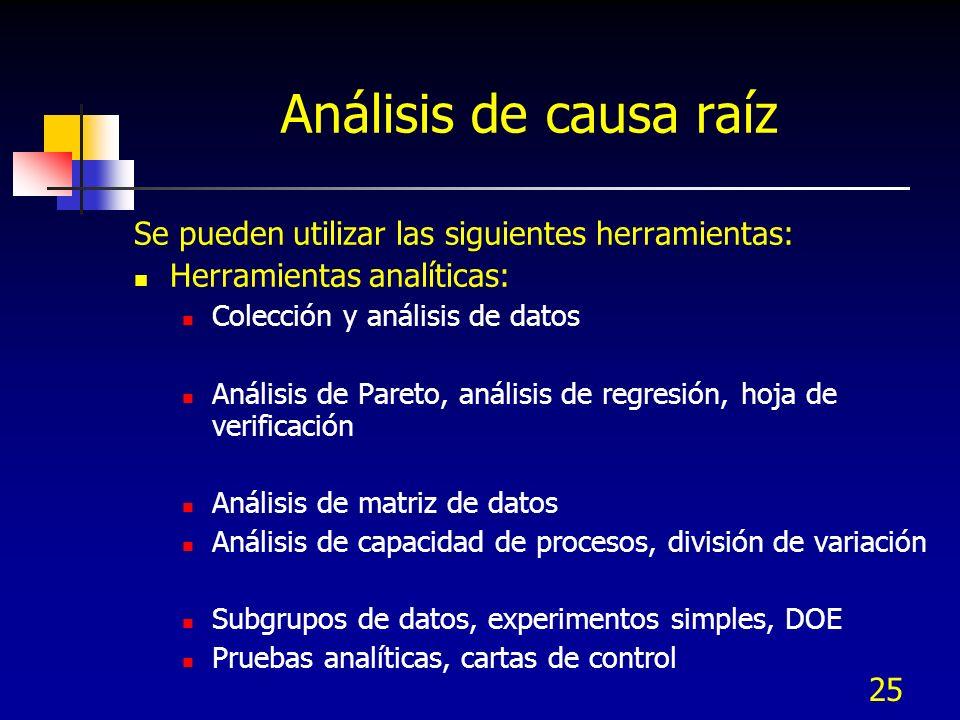25 Análisis de causa raíz Se pueden utilizar las siguientes herramientas: Herramientas analíticas: Colección y análisis de datos Análisis de Pareto, a