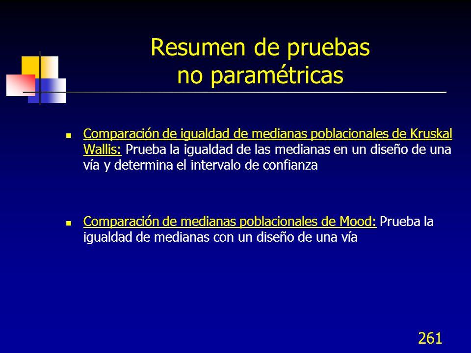 261 Resumen de pruebas no paramétricas Comparación de igualdad de medianas poblacionales de Kruskal Wallis: Prueba la igualdad de las medianas en un d