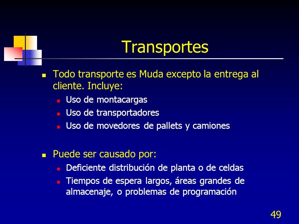 49 Transportes Todo transporte es Muda excepto la entrega al cliente. Incluye: Uso de montacargas Uso de transportadores Uso de movedores de pallets y