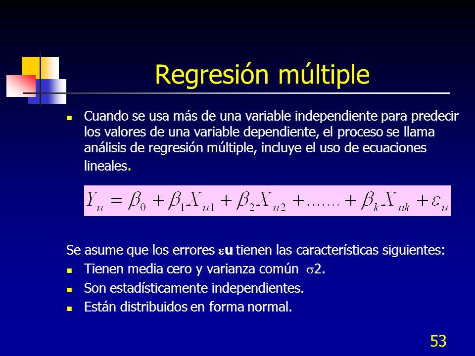 53 Regresión múltiple Cuando se usa más de una variable independiente para predecir los valores de una variable dependiente, el proceso se llama análi
