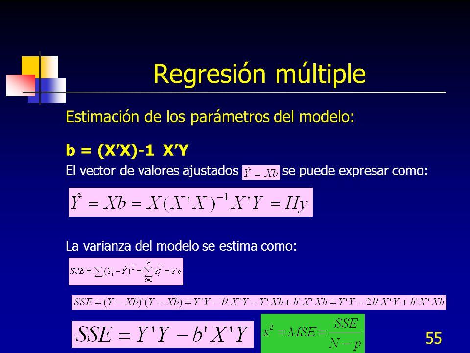 55 Regresión múltiple Estimación de los parámetros del modelo: b = (XX)-1 XY El vector de valores ajustados se puede expresar como: La varianza del mo