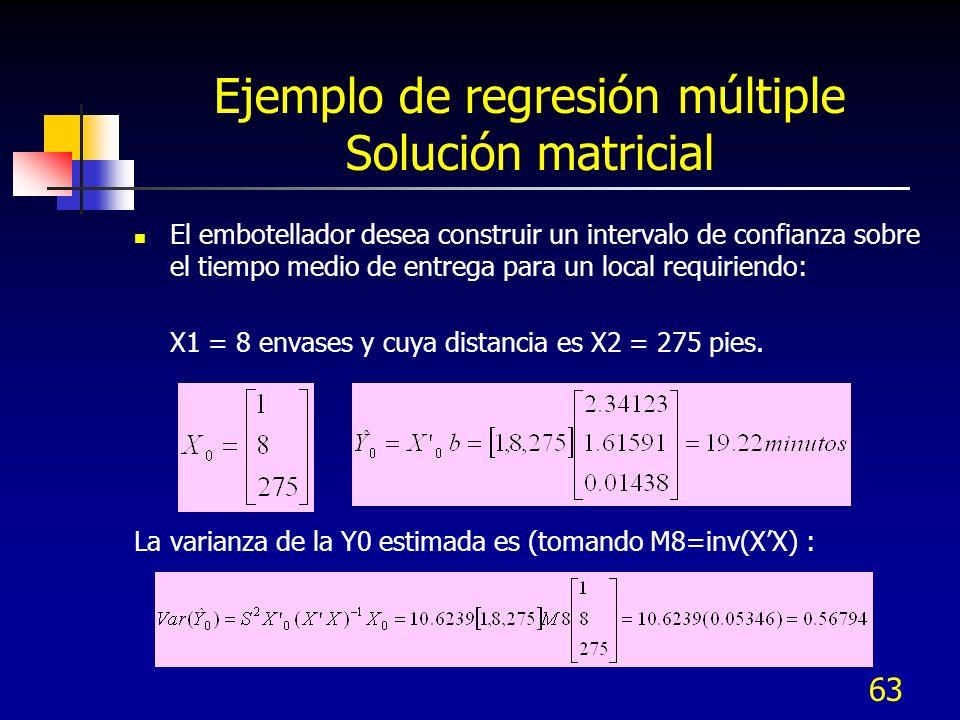 63 Ejemplo de regresión múltiple Solución matricial El embotellador desea construir un intervalo de confianza sobre el tiempo medio de entrega para un