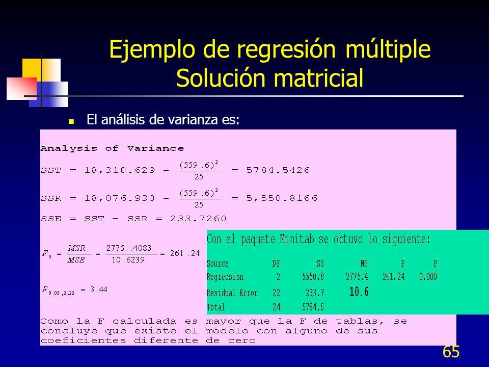65 Ejemplo de regresión múltiple Solución matricial El análisis de varianza es: