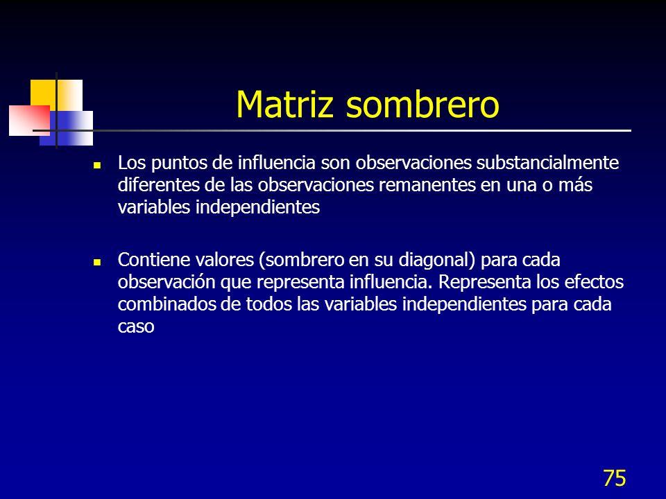 75 Matriz sombrero Los puntos de influencia son observaciones substancialmente diferentes de las observaciones remanentes en una o más variables indep