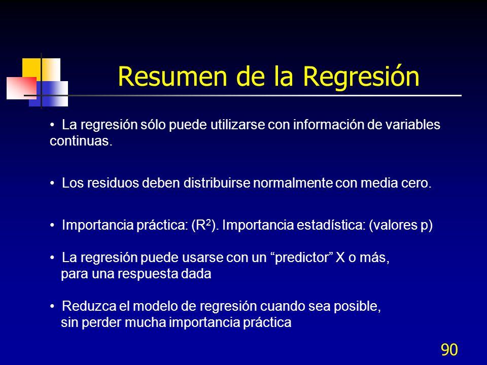 90 La regresión sólo puede utilizarse con información de variables continuas. Los residuos deben distribuirse normalmente con media cero. Importancia