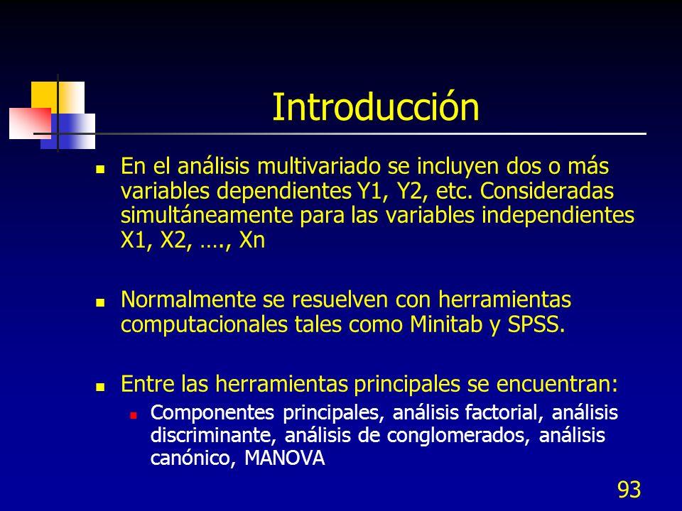 93 Introducción En el análisis multivariado se incluyen dos o más variables dependientes Y1, Y2, etc. Consideradas simultáneamente para las variables