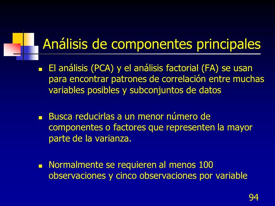 94 Análisis de componentes principales El análisis (PCA) y el análisis factorial (FA) se usan para encontrar patrones de correlación entre muchas vari