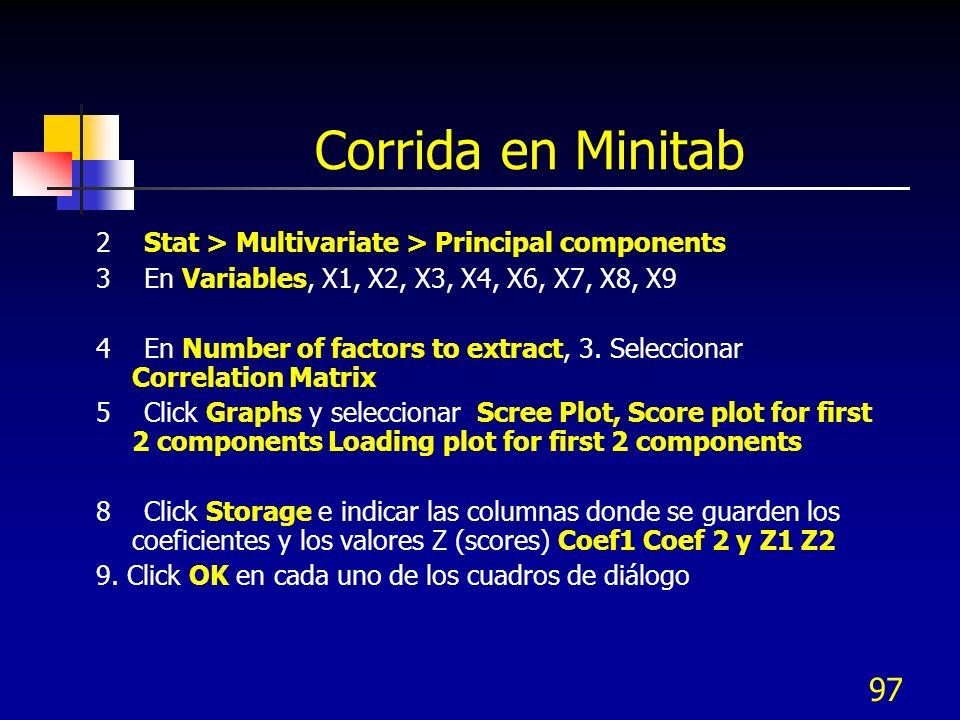 97 Corrida en Minitab 2 Stat > Multivariate > Principal components 3 En Variables, X1, X2, X3, X4, X6, X7, X8, X9 4 En Number of factors to extract, 3