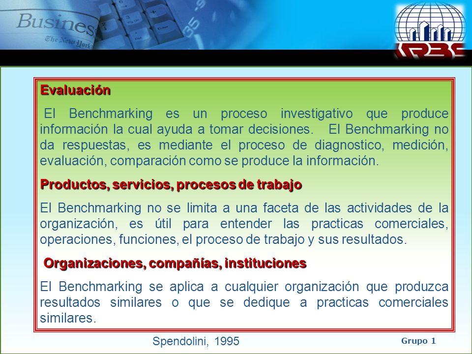 Evaluación El Benchmarking es un proceso investigativo que produce información la cual ayuda a tomar decisiones. El Benchmarking no da respuestas, es