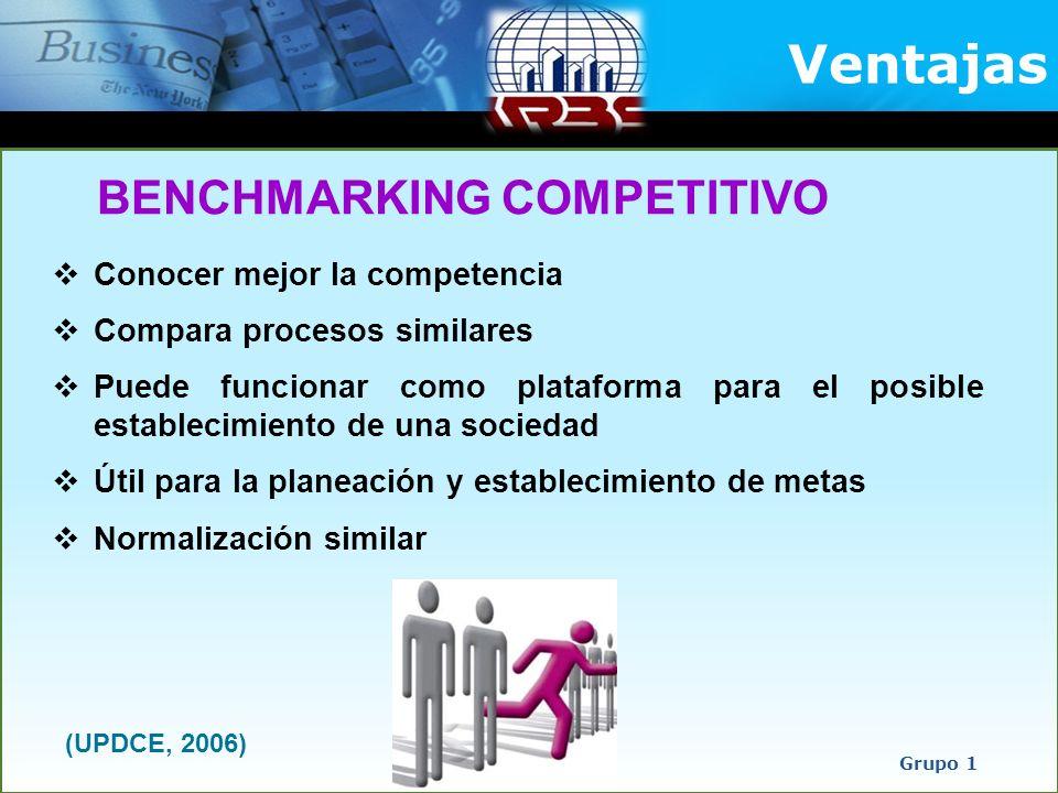 Conocer mejor la competencia Compara procesos similares Puede funcionar como plataforma para el posible establecimiento de una sociedad Útil para la p
