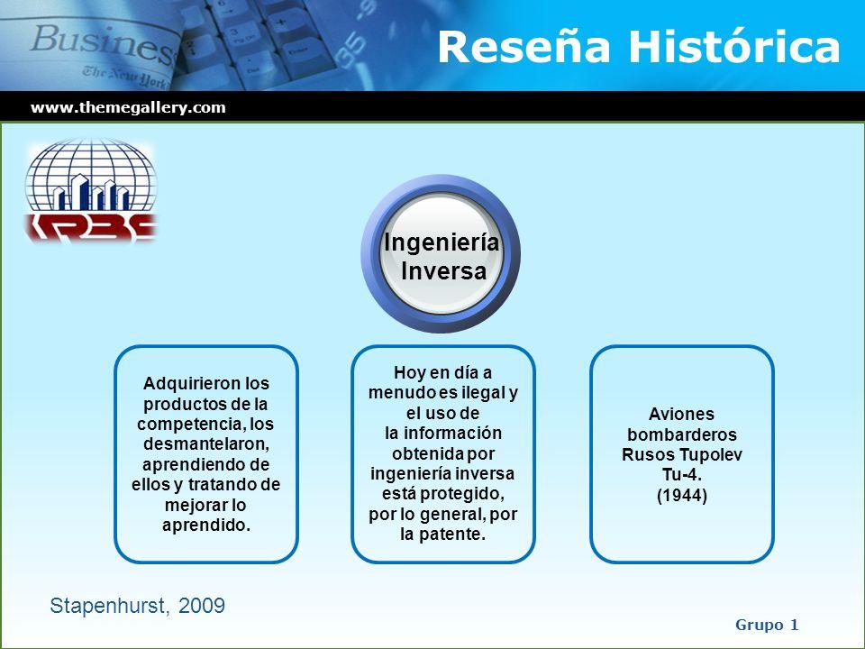 Reseña Histórica www.themegallery.com Grupo 1 Hoy en día a menudo es ilegal y el uso de la información obtenida por ingeniería inversa está protegido,