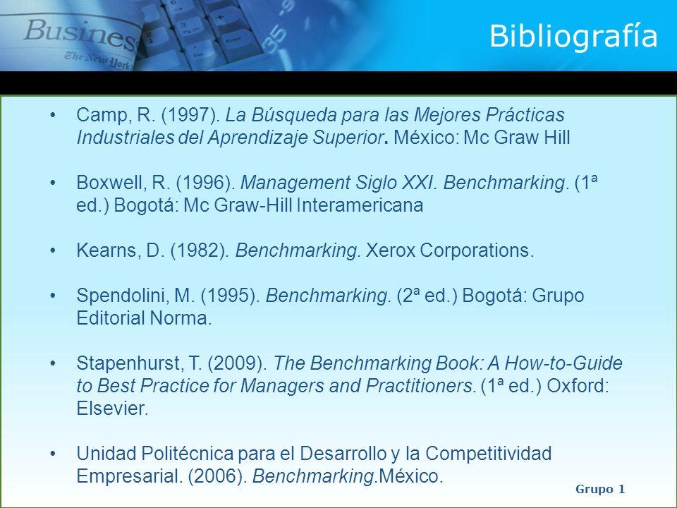 Bibliografía Grupo 1 Camp, R. (1997). La Búsqueda para las Mejores Prácticas Industriales del Aprendizaje Superior. México: Mc Graw Hill Boxwell, R. (