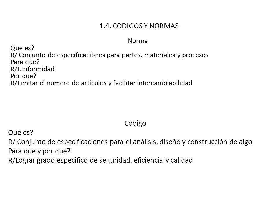 1.4. CODIGOS Y NORMAS Norma Que es? R/ Conjunto de especificaciones para partes, materiales y procesos Para que? R/Uniformidad Por que? R/Limitar el n