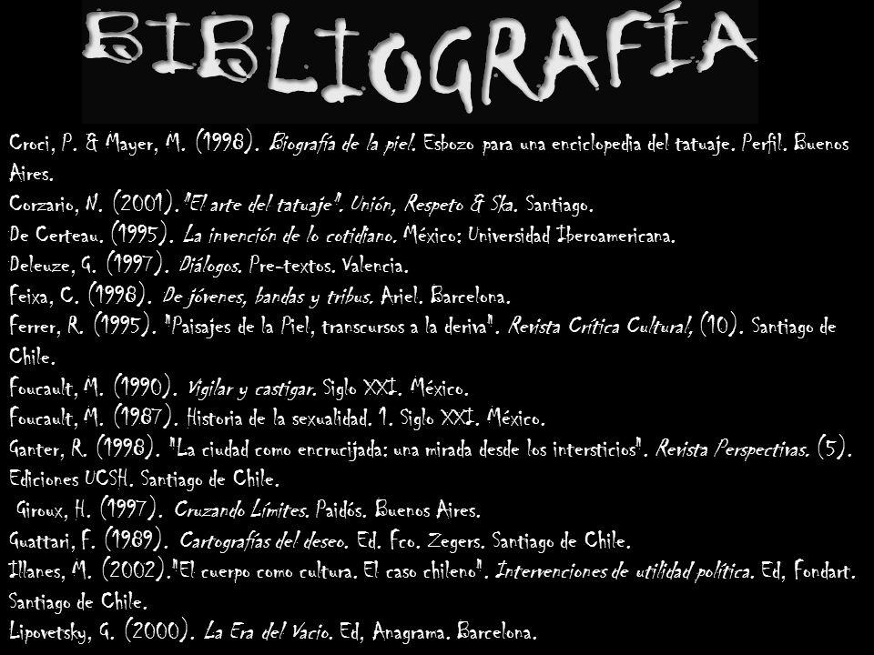 Croci, P. & Mayer, M. (1998). Biografía de la piel. Esbozo para una enciclopedia del tatuaje. Perfil. Buenos Aires. Corzario, N. (2001).