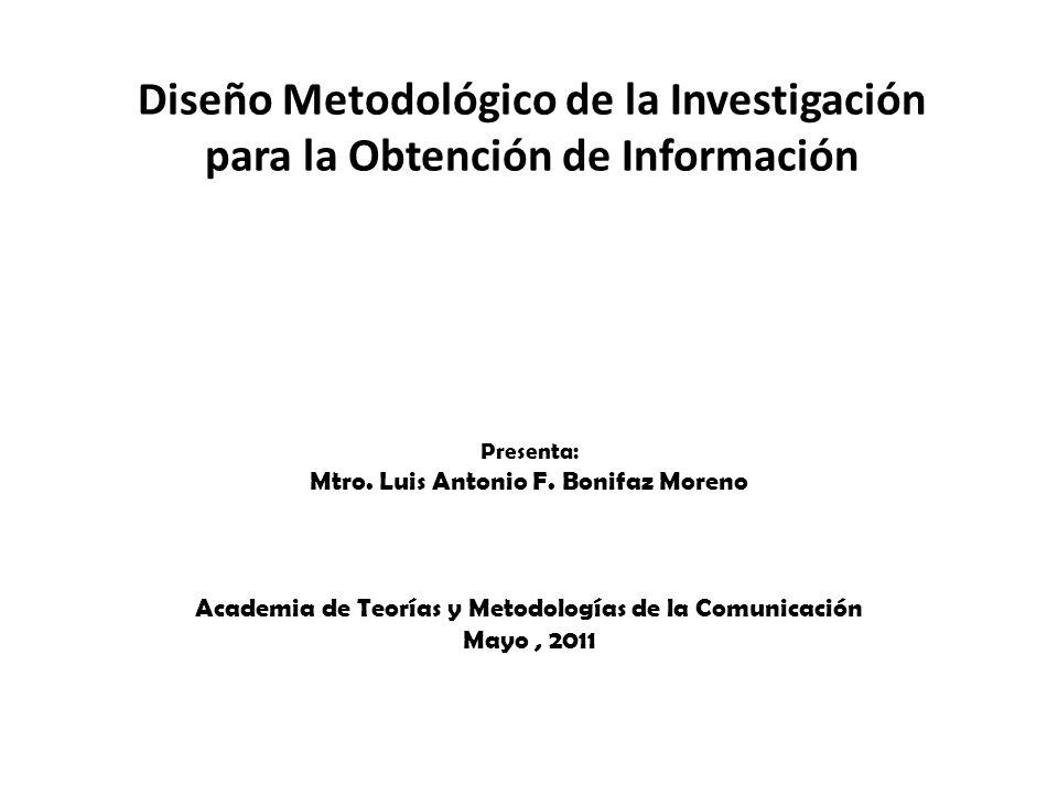 Diseño Metodológico de la Investigación para la Obtención de Información Presenta: Mtro. Luis Antonio F. Bonifaz Moreno Academia de Teorías y Metodolo