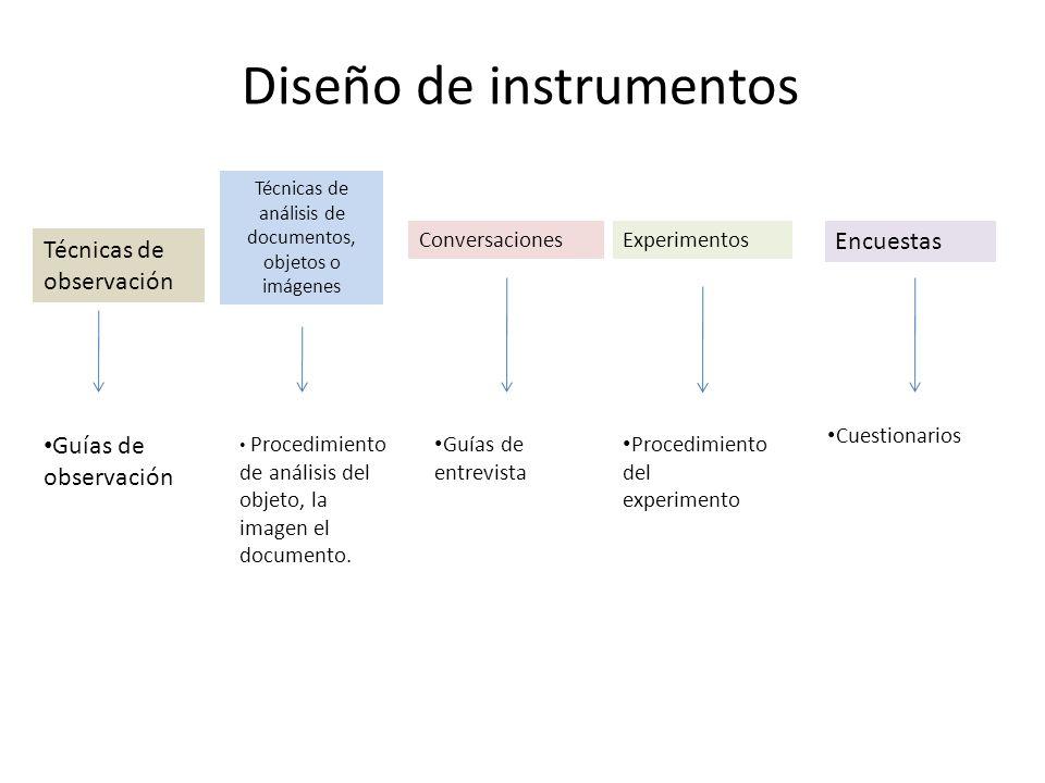 Diseño de instrumentos Técnicas de observación Técnicas de análisis de documentos, objetos o imágenes ConversacionesExperimentos Encuestas Guías de ob