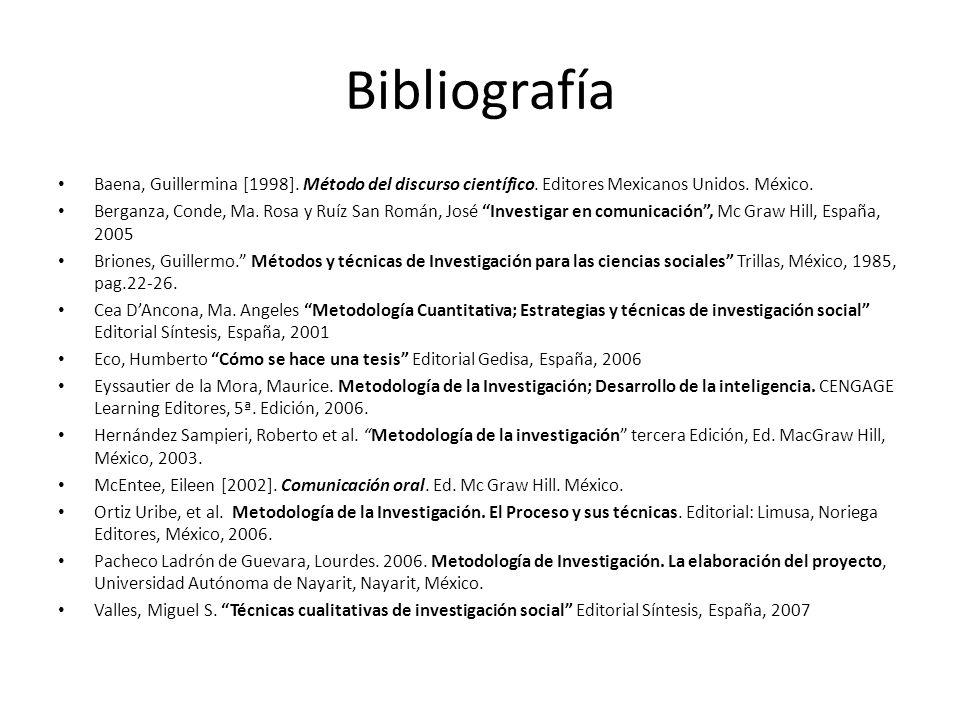 Bibliografía Baena, Guillermina [1998]. Método del discurso científico. Editores Mexicanos Unidos. México. Berganza, Conde, Ma. Rosa y Ruíz San Román,
