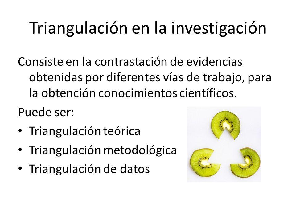 Triangulación en la investigación Consiste en la contrastación de evidencias obtenidas por diferentes vías de trabajo, para la obtención conocimientos