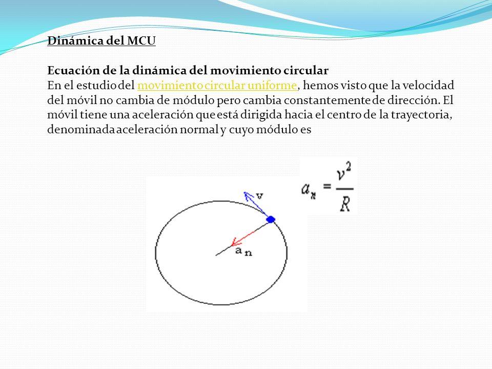 Dinámica del MCU Ecuación de la dinámica del movimiento circular En el estudio del movimiento circular uniforme, hemos visto que la velocidad del móvil no cambia de módulo pero cambia constantemente de dirección.