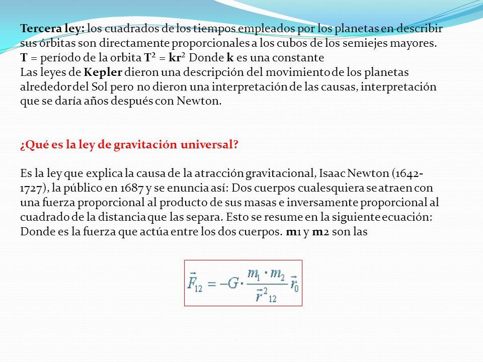 Tercera ley: los cuadrados de los tiempos empleados por los planetas en describir sus órbitas son directamente proporcionales a los cubos de los semiejes mayores.