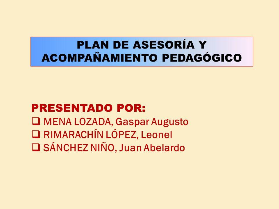 PLAN DE ASESORÍA Y ACOMPAÑAMIENTO PEDAGÓGICO PRESENTADO POR: MENA LOZADA, Gaspar Augusto RIMARACHÍN LÓPEZ, Leonel SÁNCHEZ NIÑO, Juan Abelardo