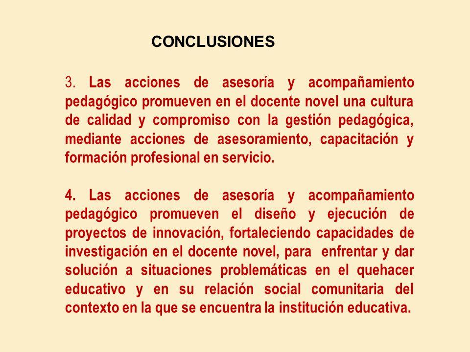 CONCLUSIONES 1.- Las acciones de asesoría y acompañamiento pedagógico contribuyen con el desarrollo personal y ético del profesor novel, fortaleciendo la práctica de valores y actitudes democráticas y sociales, en un ambiente de empatía y afecto en su interacción social y comunitaria.