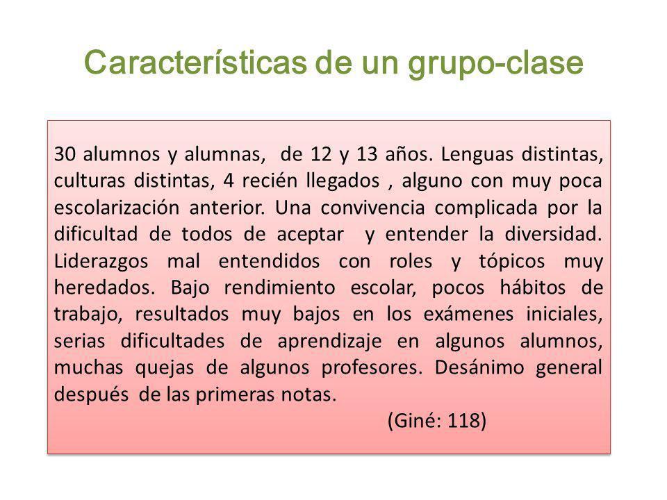 Características de un grupo-clase 30 alumnos y alumnas, de 12 y 13 años. Lenguas distintas, culturas distintas, 4 recién llegados, alguno con muy poca