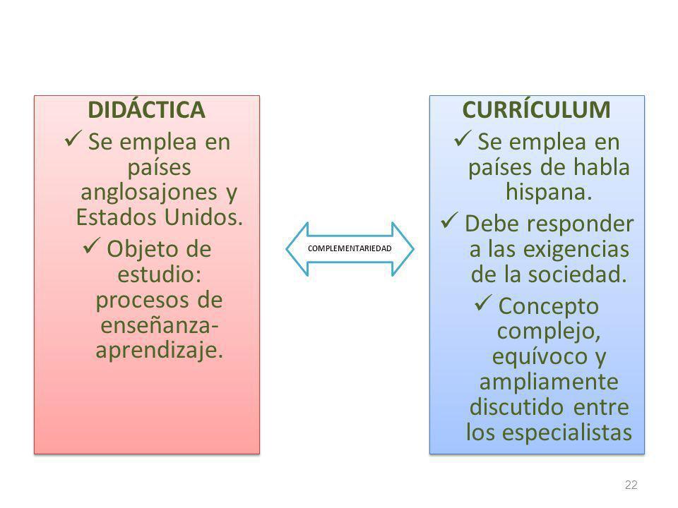 DIDÁCTICA Se emplea en países anglosajones y Estados Unidos. Objeto de estudio: procesos de enseñanza- aprendizaje. DIDÁCTICA Se emplea en países angl