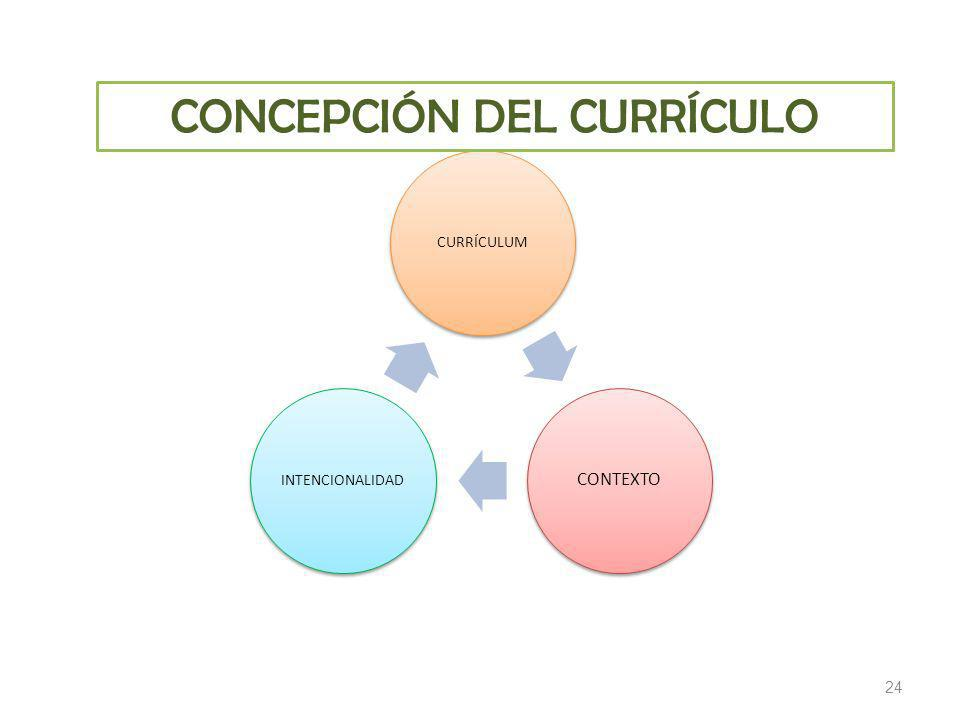 24 CURRÍCULUM CONTEXTO INTENCIONALIDAD CONCEPCIÓN DEL CURRÍCULO