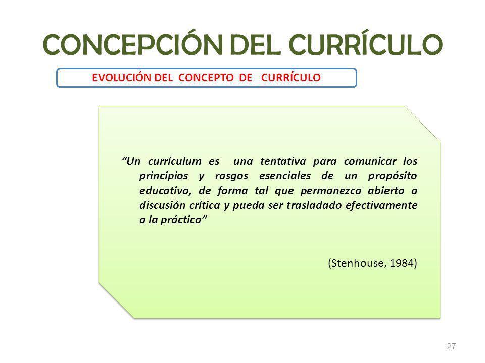 27 EVOLUCIÓN DEL CONCEPTO DE CURRÍCULO Un currículum es una tentativa para comunicar los principios y rasgos esenciales de un propósito educativo, de