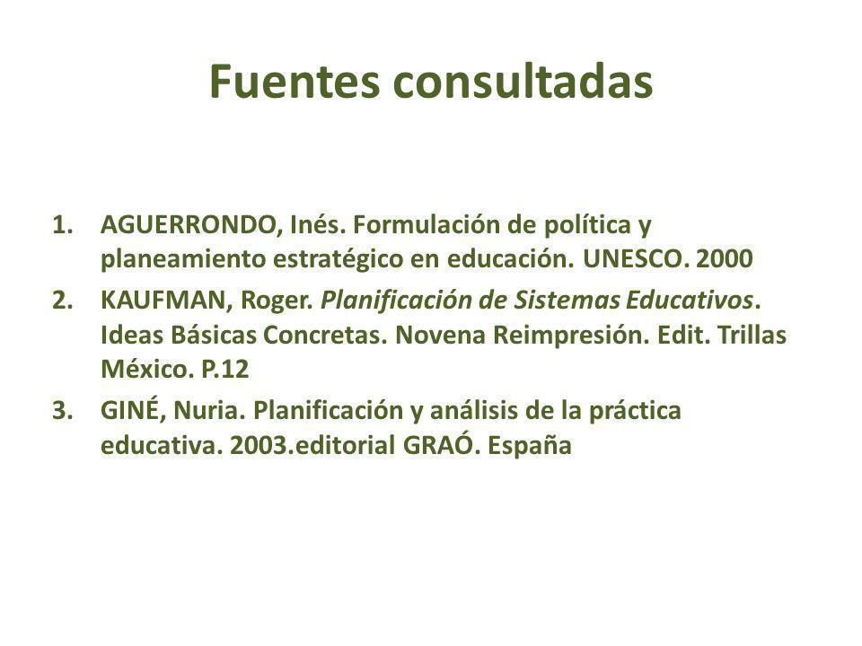 Fuentes consultadas 1.AGUERRONDO, Inés. Formulación de política y planeamiento estratégico en educación. UNESCO. 2000 2.KAUFMAN, Roger. Planificación