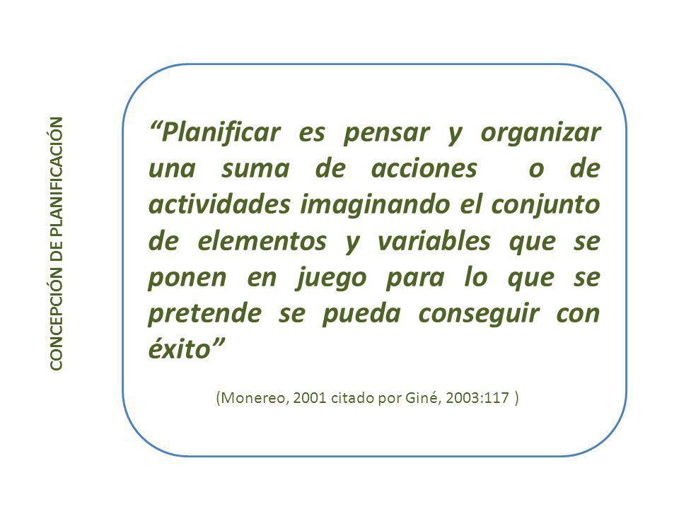 CONCEPCIÓN DE PLANIFICACIÓN La planificación es un proceso para determinar adónde ir y establecer los requisitos para llegar a ese punto de la manera más eficiente y eficaz posible (Kaufman,1973: 17)