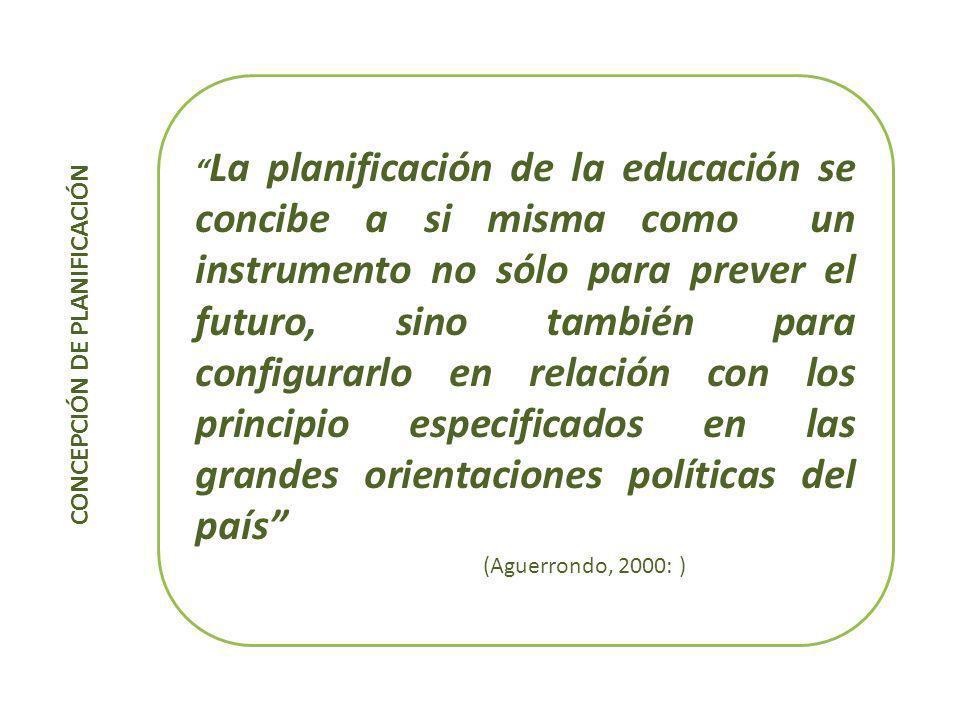 PLANIFICACIÓN EDUCATIVA Concuerdo con Aguerrondo (2000), en tanto que los países latinoamericanos deben enfatizar no tanto los aspectos formales, sino en el desafío concreto de que las decisiones que se toman se implementen efectivamente.