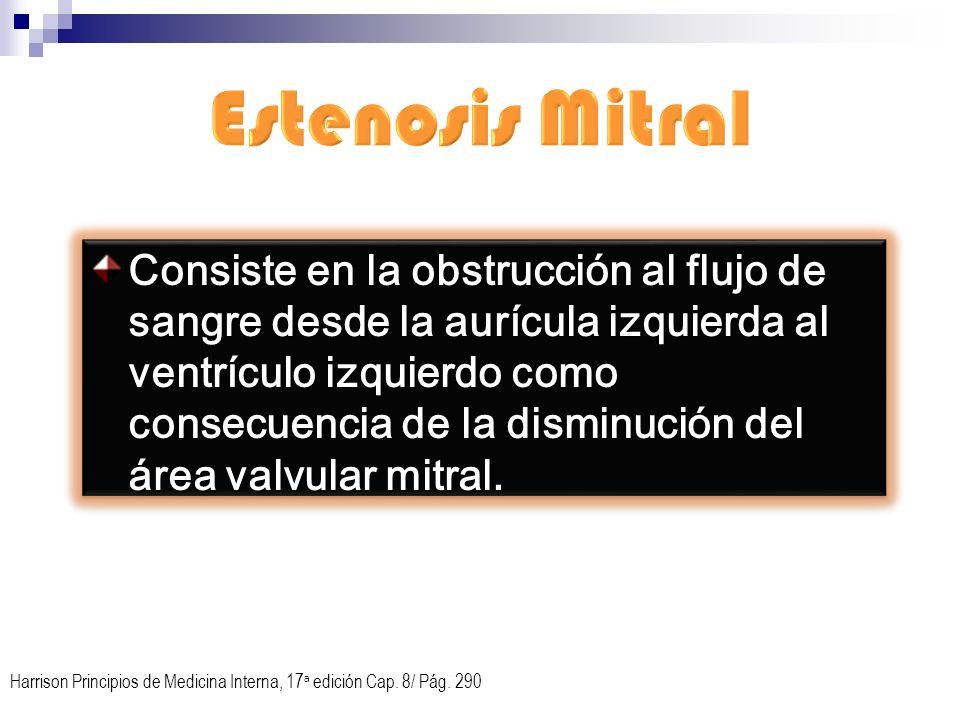 Consiste en la obstrucción al flujo de sangre desde la aurícula izquierda al ventrículo izquierdo como consecuencia de la disminución del área valvula