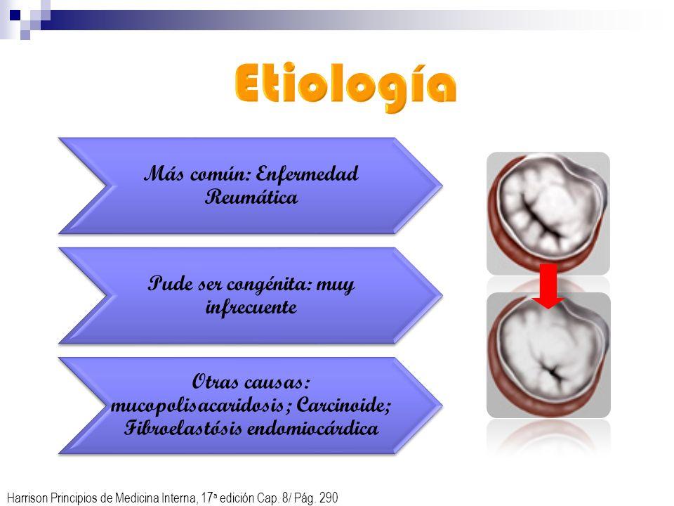 Más común: Enfermedad Reumática Pude ser congénita: muy infrecuente Otras causas: mucopolisacaridosis; Carcinoide; Fibroelastósis endomiocárdica Harri