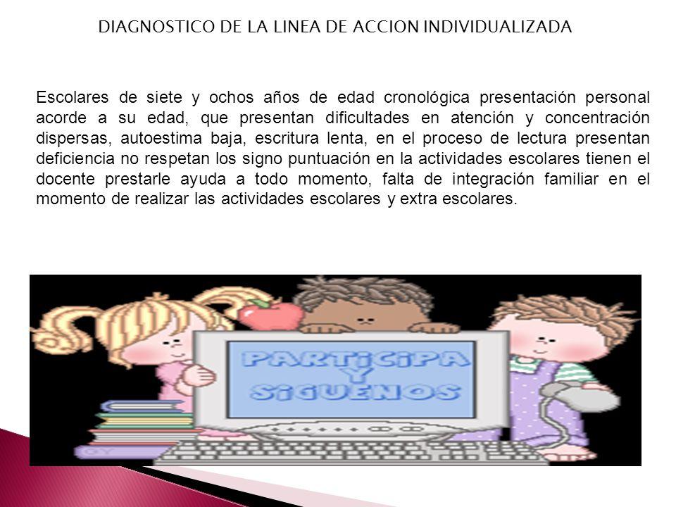 DIAGNOSTICO DE LA LINEA DE ACCION INDIVIDUALIZADA Escolares de siete y ochos años de edad cronológica presentación personal acorde a su edad, que pres