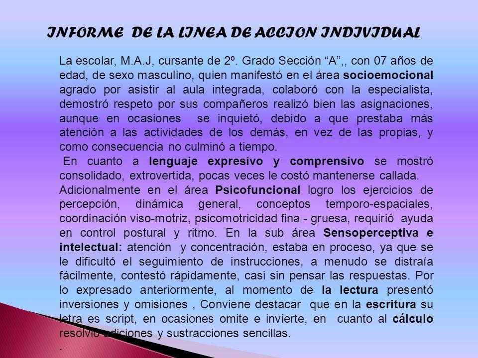 INFORME DE LA LINEA DE ACCION INDIVIDUAL La escolar, M.A.J, cursante de 2º. Grado Sección A,, con 07 años de edad, de sexo masculino, quien manifestó