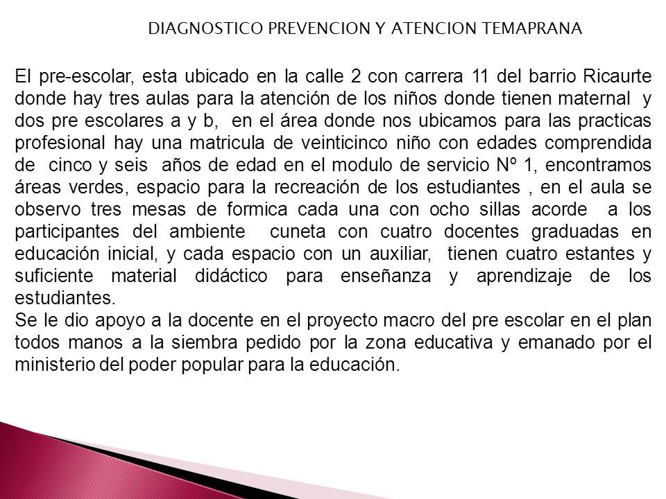DIAGNOSTICO PREVENCION Y ATENCION TEMAPRANA El pre-escolar, esta ubicado en la calle 2 con carrera 11 del barrio Ricaurte donde hay tres aulas para la