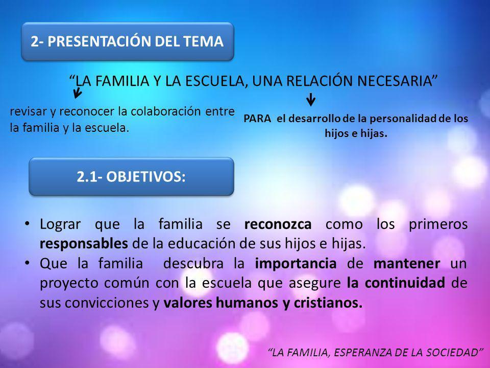 2- PRESENTACIÓN DEL TEMA LA FAMILIA Y LA ESCUELA, UNA RELACIÓN NECESARIA revisar y reconocer la colaboración entre la familia y la escuela.