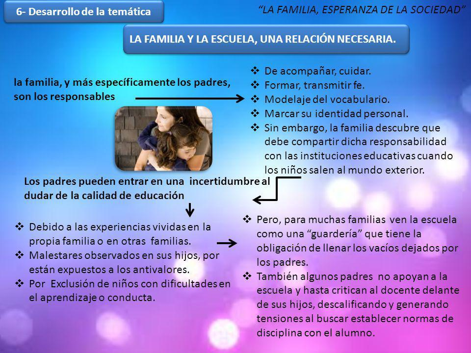 6- Desarrollo de la temática LA FAMILIA Y LA ESCUELA, UNA RELACIÓN NECESARIA. LA FAMILIA Y LA ESCUELA, UNA RELACIÓN NECESARIA. la familia, y más espec