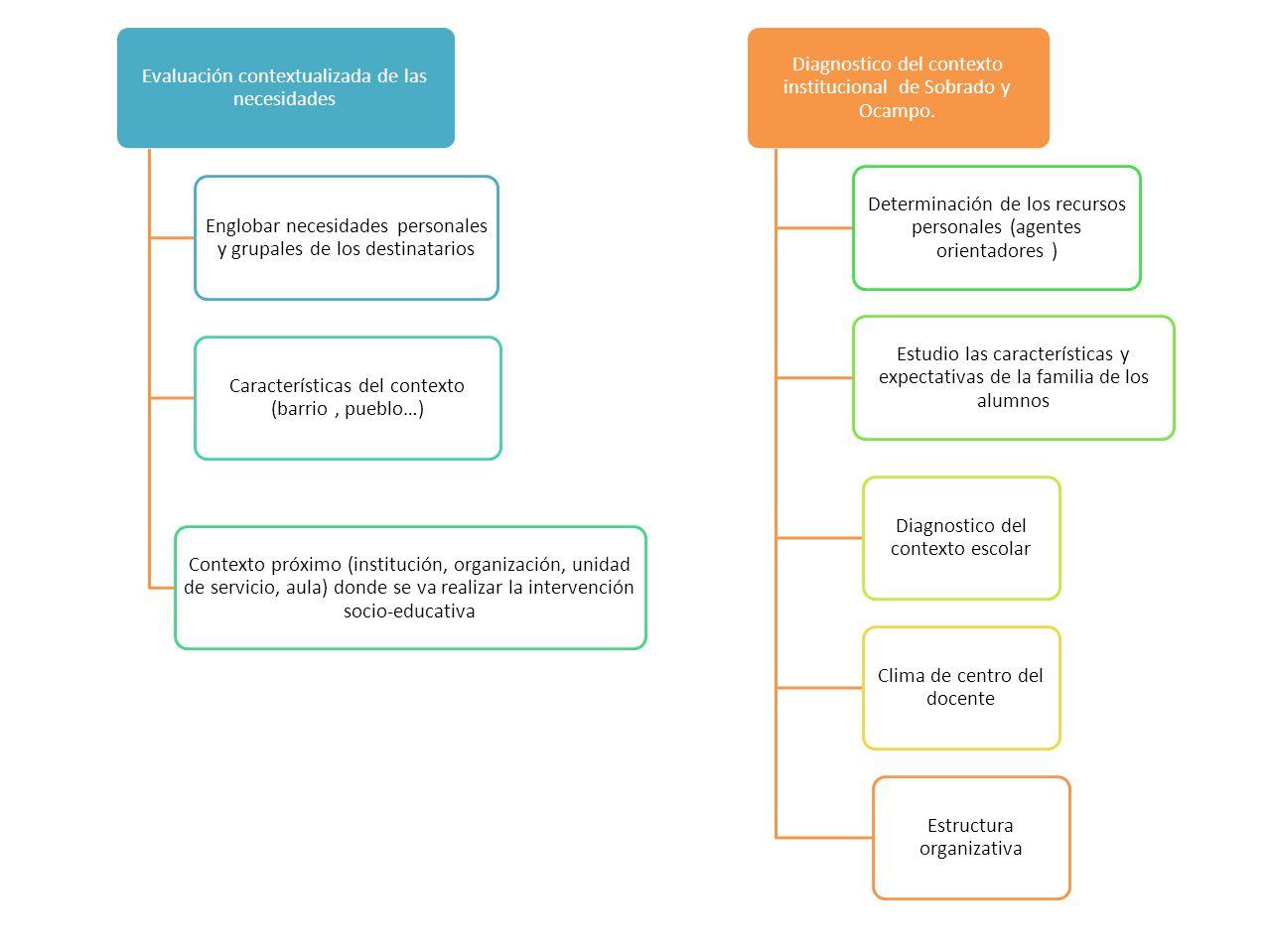 Evaluación contextualizada de las necesidades Englobar necesidades personales y grupales de los destinatarios Características del contexto (barrio, pu