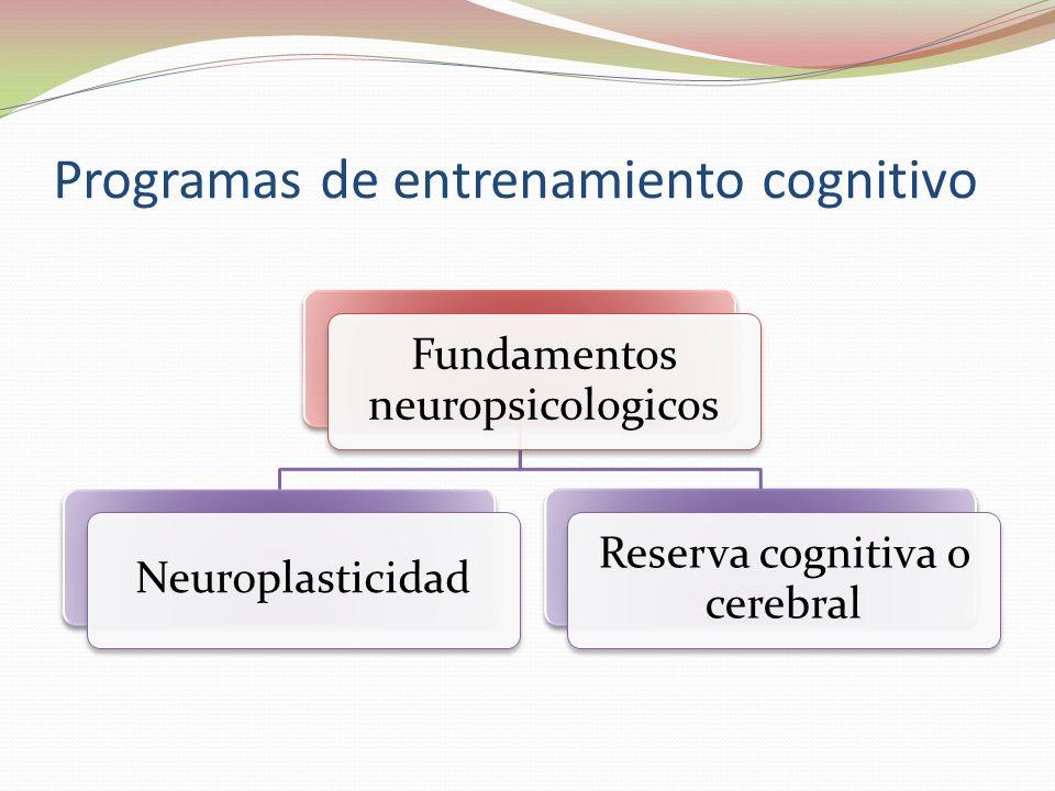 Programas de entrenamiento cognitivo Fundamentos neuropsicologicos Neuroplasticidad Reserva cognitiva o cerebral