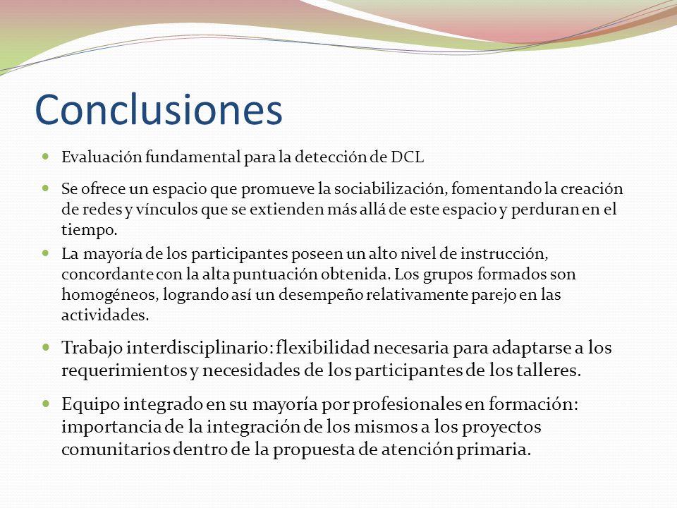 Conclusiones Evaluación fundamental para la detección de DCL Se ofrece un espacio que promueve la sociabilización, fomentando la creación de redes y vínculos que se extienden más allá de este espacio y perduran en el tiempo.